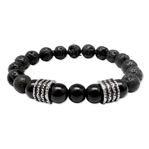 Black Vesuvianite Mens Prayer Bracelet - Black Kaps®