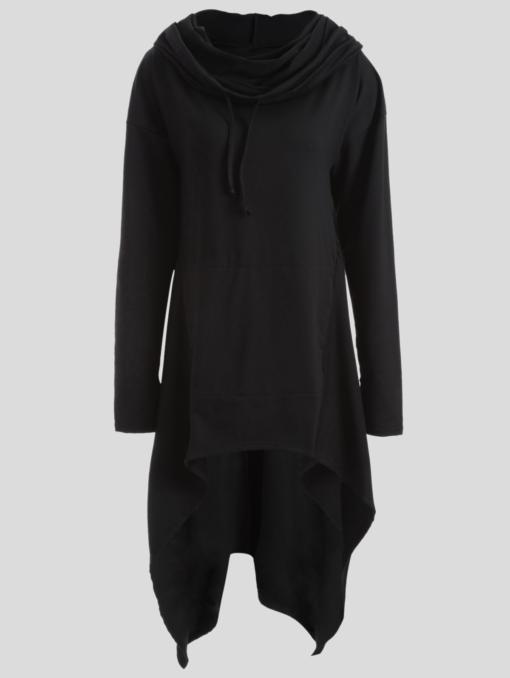 Womens Long Black Hoodie