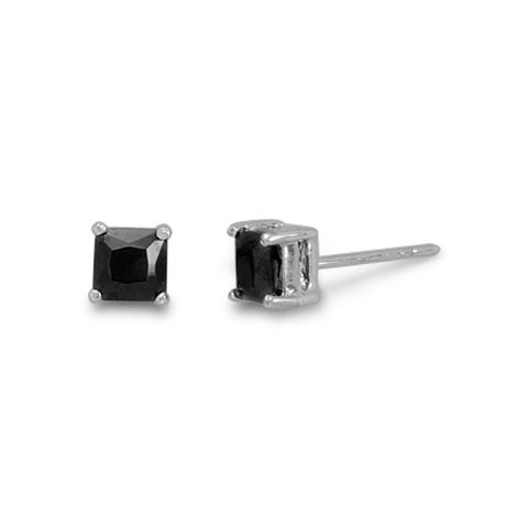 Square Black Studs - Silver Earrings - Black Kaps®