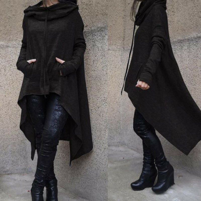 Long Black Hoodie - Asymmetrical Womens Hoodie in Large - Black Kaps®