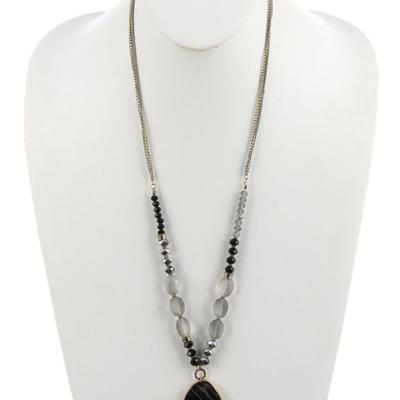 Natural Stone Pendant - Double Lucite Chain - Black Kaps PI1