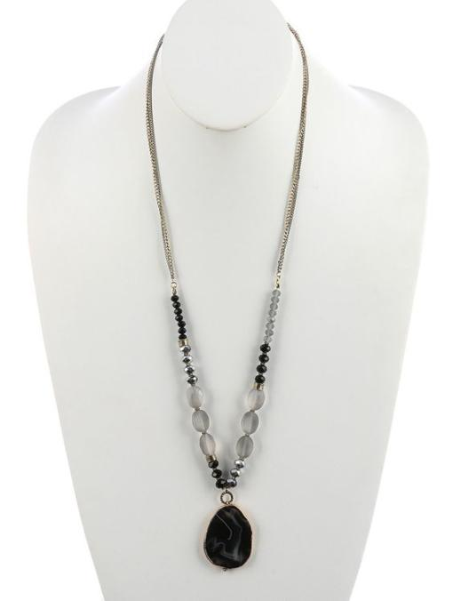 Natural Stone Pendant - Double Lucite Chain - Black Kaps PI1