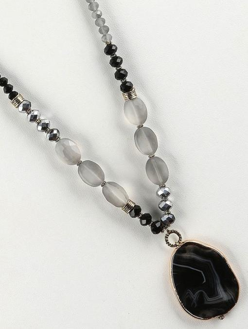 Natural Stone Pendant - Double Lucite Chain - Black Kaps PI2