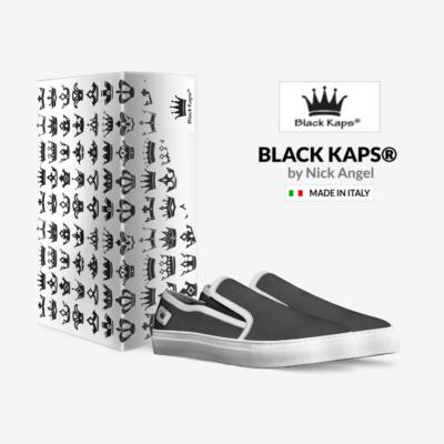 THE EL G - Skater Slip On Sneaker - by Nick Angel - Black Kaps® with_box an logo