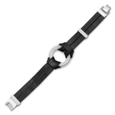 Black Leather Bracelet Center RingW2087_large