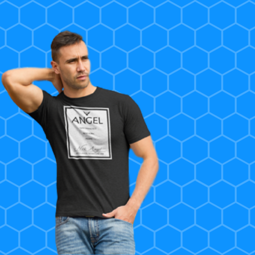 BlackKaps.com Black Kaps - Angel Signature Line T-Shirt by Nick Angel Blue Background