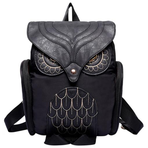BlackKaps.com Black Kaps Black Leather Womens Backpack - Front