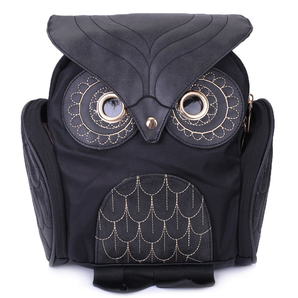 Owl Back Pack - Small Shoulder Satchel - Black Kaps