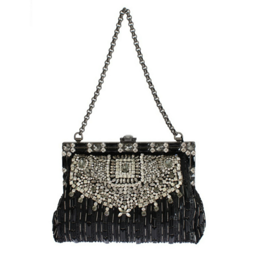 BlackKaps.com Black Kaps - Dolce & Gabanna - Black Silk Vanda Evening Bag - Front