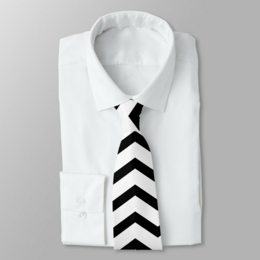 BlackKaps.com Black Kaps - Get Wavy - Black & White Mens Tie - Display