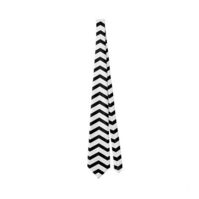 BlackKaps.com Black Kaps - Get Wavy - Black & White Mens Tie - Front