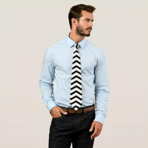 BlackKaps.com Black Kaps - Get Wavy - Black & White Mens Tie - Model
