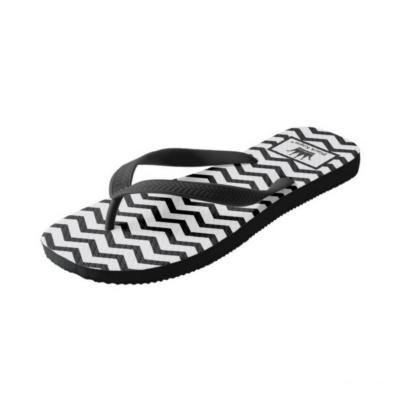 BlackKaps.com Black Kaps - Get Wavy - Black & White Slides - Wide Strap Flip Flops - Angle