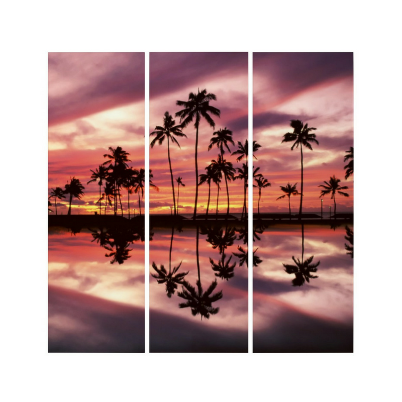 Maui Sunset Print by Nick Angel - Acrylic Triptych - Black Kaps®