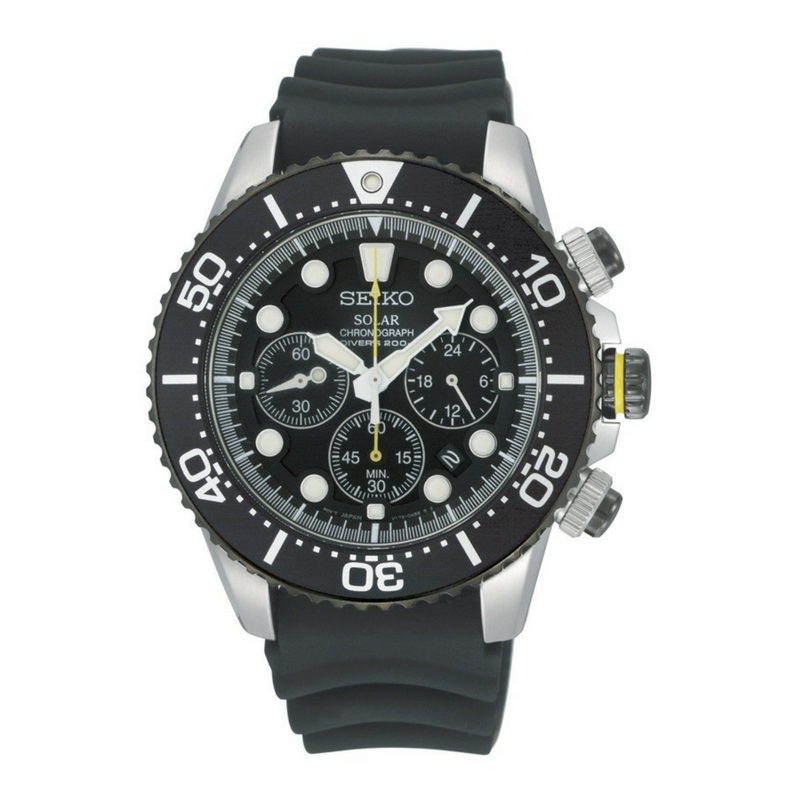 Seiko Solar Chronograph - Divers Watch - Black Kaps