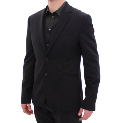BlackKpas.com Black Kaps - Balmain - Black Two Button Blazer w Vest - 2:3