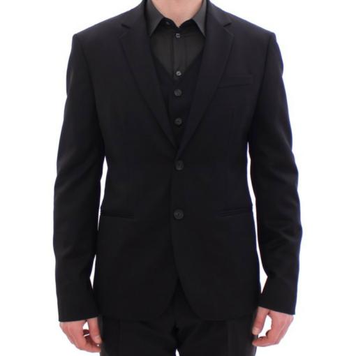 BlackKpas.com Black Kaps - Balmain - Black Two Button Blazer w Vest - Front