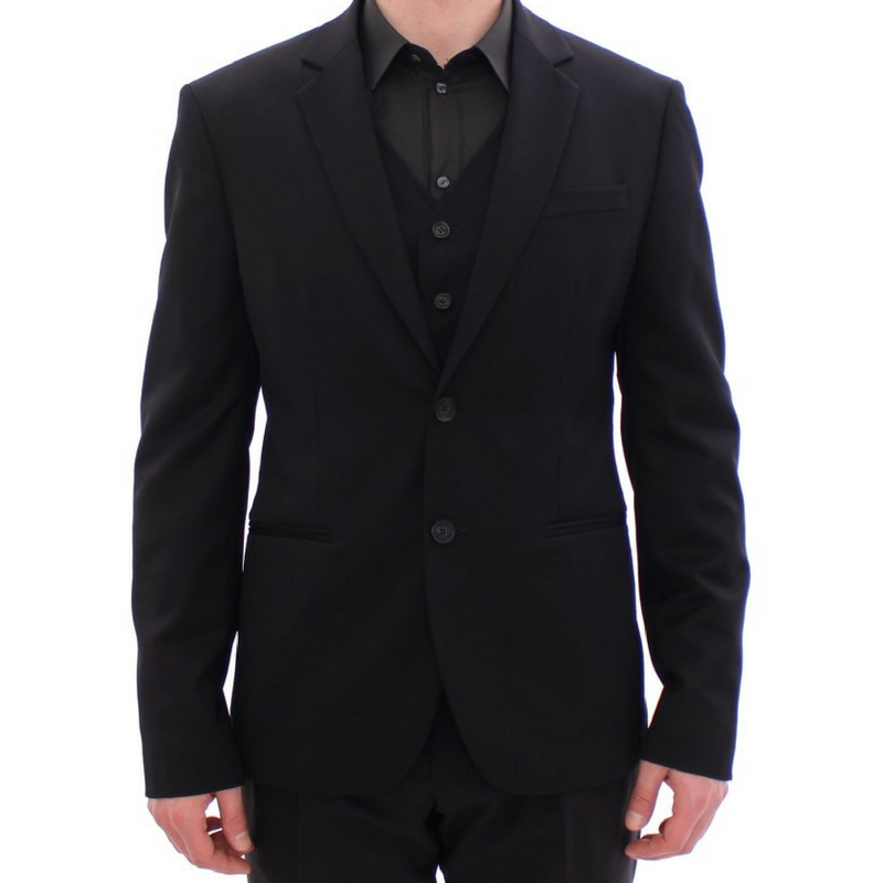 Two Button Balmain Blazer with Vest - Black Kaps