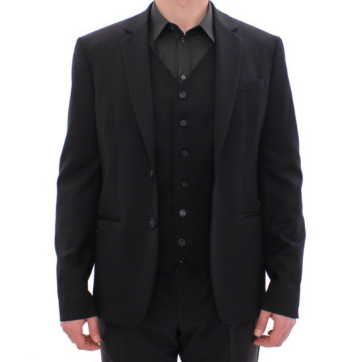 BlackKpas.com Black Kaps - Balmain - Black Two Button Blazer w Vest - Unbuttoned
