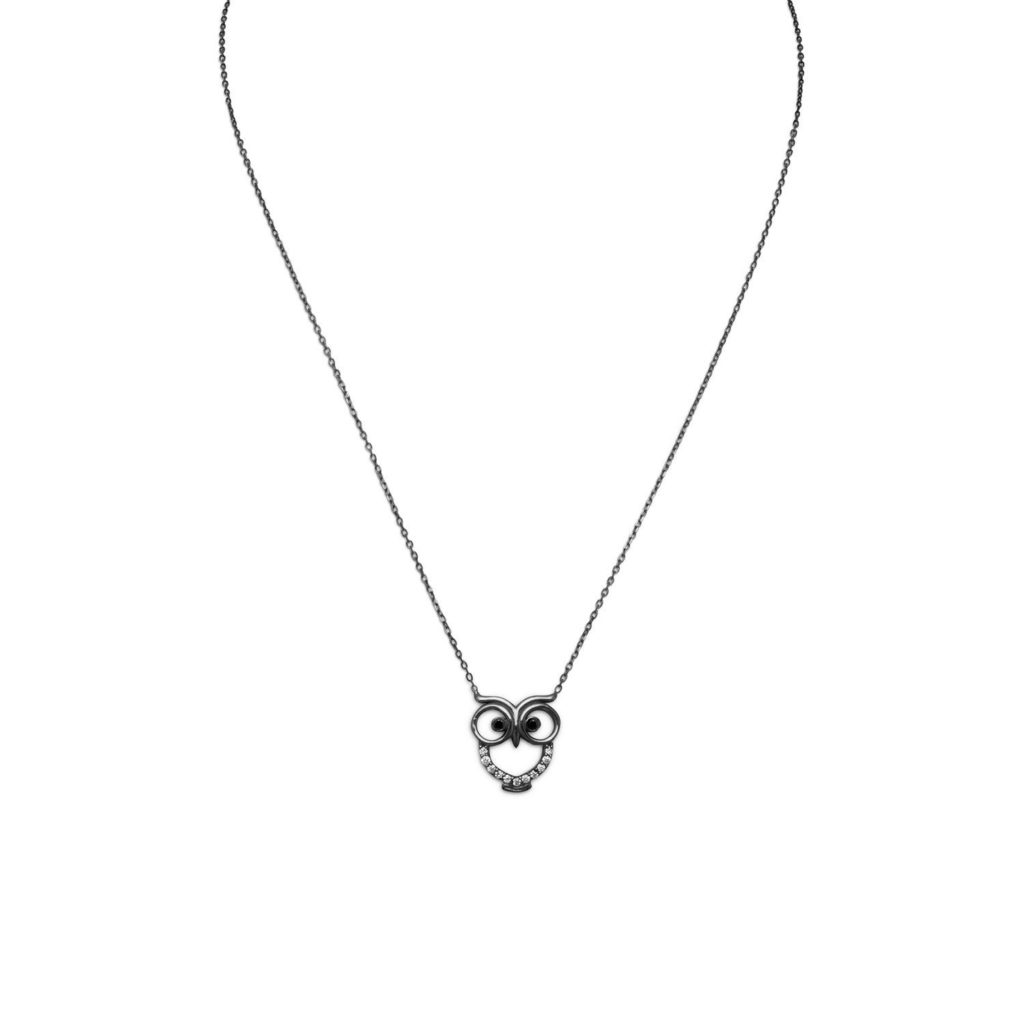 Black CZ Owl Necklace - Sterling Silver - Black Kaps