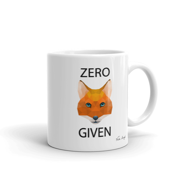 Zero Fox Given - Geometric Mug by Nick Angel - Black Kaps