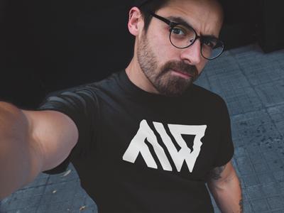 AngelWear.co Angel Wear AW Logo Black TShirt Model
