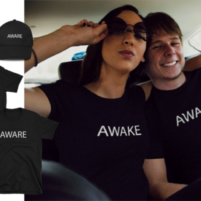 BlackKaps.com Black Kaps - Awake & Aware T-Shirts & Hats FB Share