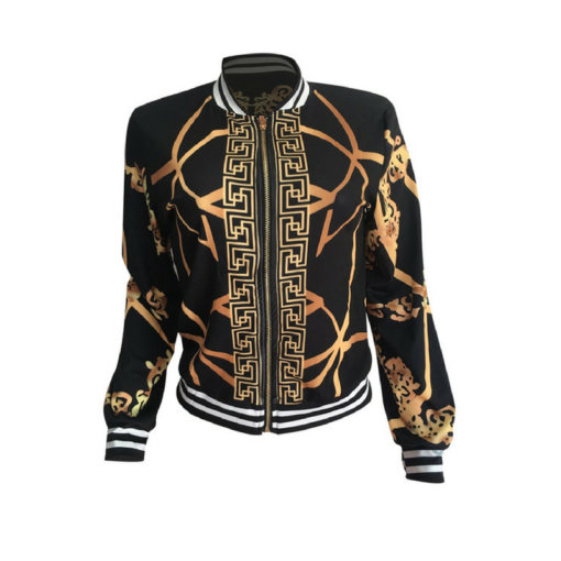 BlackKaps.com Black Kaps Gold Print Fashion Jacket - front