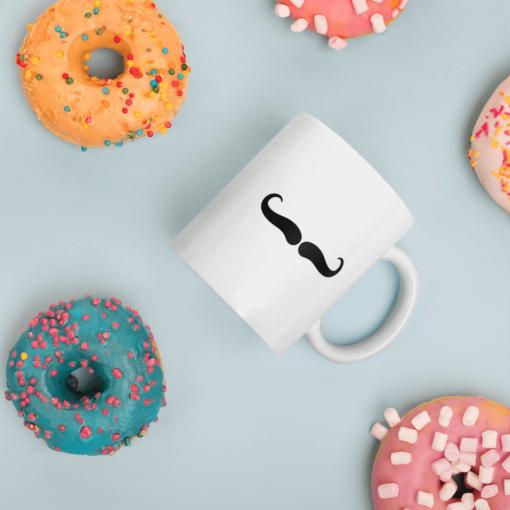 BlackKaps.com Black Kaps - Villain Stache - 11oz Coffee Mug - Donuts Mockup- 1000x1000