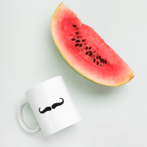 BlackKaps.com Black Kaps - Villain Stache - 11oz Coffee Mug - Watermelon Mockup- 1000x1000