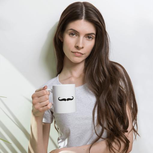 BlackKaps.com Black Kaps - Villain Stache - 11oz Coffee Mug - Woman Mockup- 1000x1000