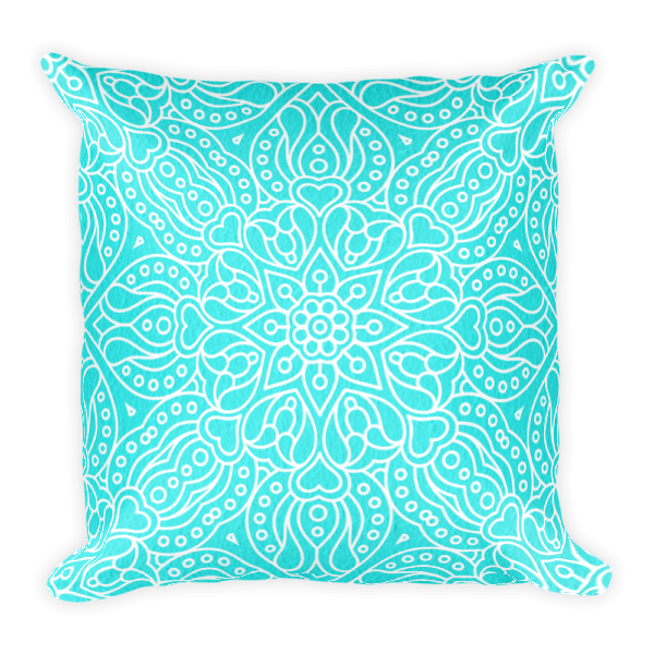 The Maya Square Accent Pillow in Turquoise